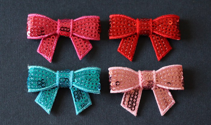 Pretty Sequin Bows - 4 Colours