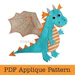 Dragon Applique Pattern PDF Template Applique Design