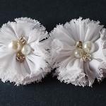 NEW 2 Chiffon Flower Rhinestone Pearl- White