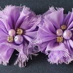 2 Chiffon Flower Rhinestone Pearl- Purple