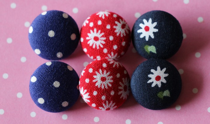 6 Assorted Design Fabric Covered Buttons
