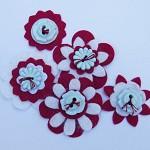 Burgundy and White Felt Flower Embellishments