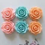 6 Resin rose cabochons - pack 3