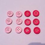 12 Pink 15mm Wooden Buttons