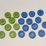 20 Green and Blue 15mm Wooden Buttons