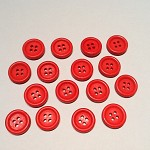16 Red 15mm Wooden Buttons