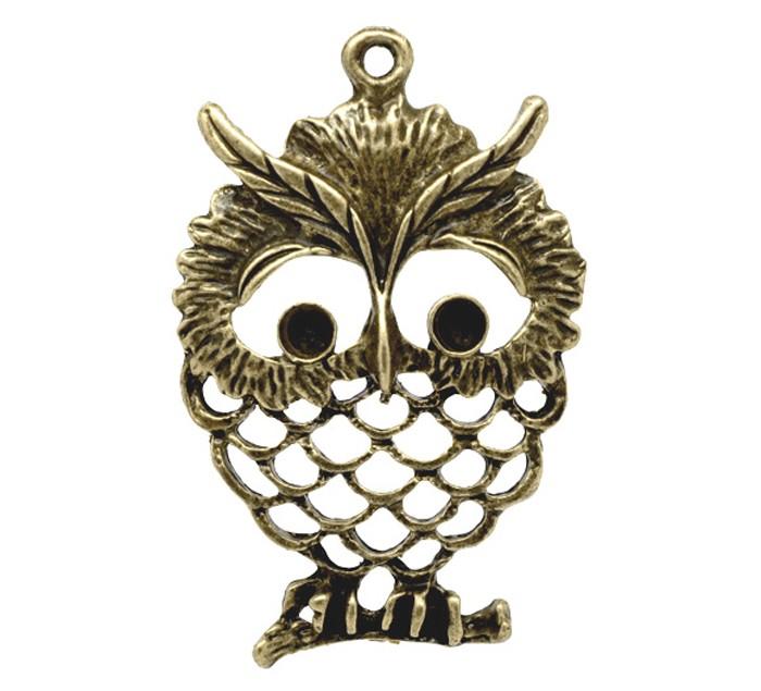 2 Bronze Tone Owl Charm / Pendant
