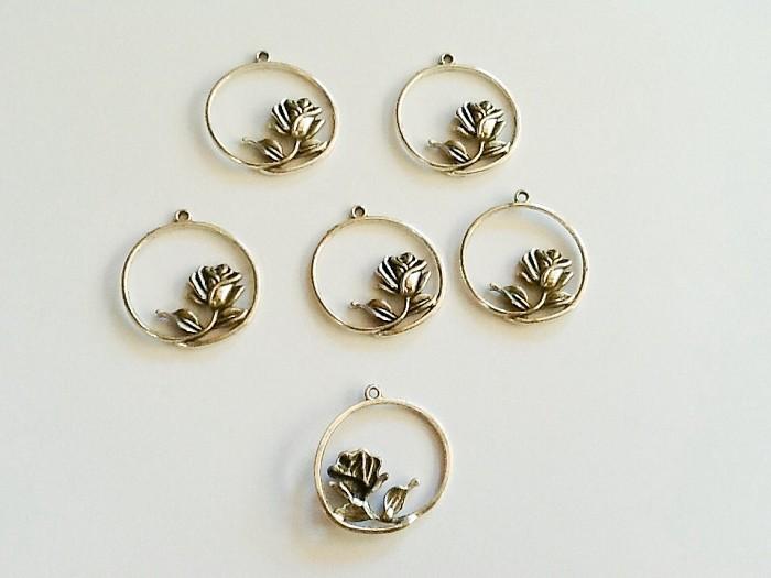 Tibetan Silver Rose Pendants 5pc