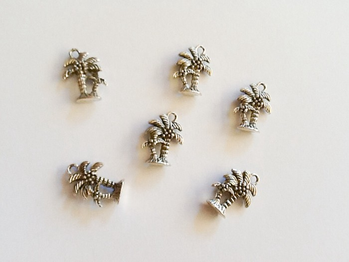 6pcsTibetan Silver Palm Tree Beach Theme Charms