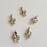 Antique Silver Squid Charms 10pc