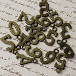 0-9 Antique Bronze Number Charms