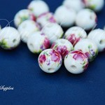 Handmade Porcelain Beads flower print 10 pieces, 12mm , round bead