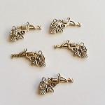 Tibetan Silver Gun and Roses Pendant Charms 5pc