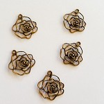Bronze Rose Charms 5pc