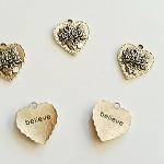 Tibetan Silver Flower Heart Pendants 5pc
