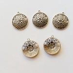 Tibetan Silver Round Pendants 5pc