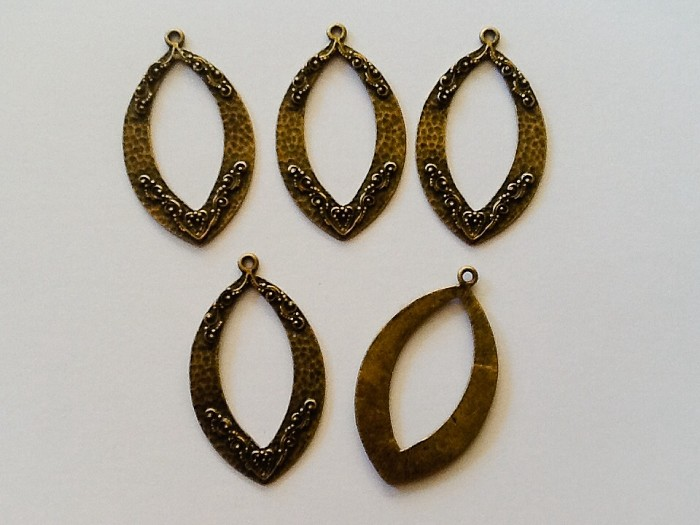 Antique Bronze Pendants 5pc