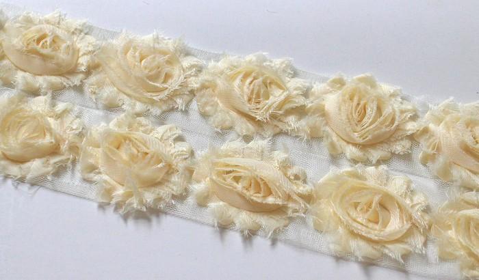 10 CREAM SHABBY CHIFFON FLOWERS