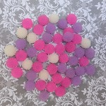 50 pces Frosted flower cabochons (pink, white & light purple)
