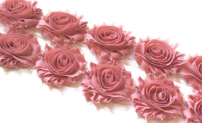 10 DUSTY ROSE SHABBY CHIFFON FLOWERS