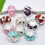 5 x Silver Plated Enamel (with Gold Dust) Spacer Beads