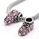 5 Pink Rhinestone Shoe Beads