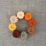 "Pack of 15, ""Autumn leaves"" pack, crochet flowers in orange, brown, peach, latte"