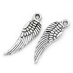 14  Silver Tone Wing Charm
