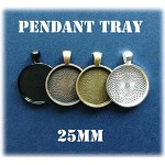 Bulk 100 Round Pendant Trays Color of your choice, Silver Bronze Copper Black, M
