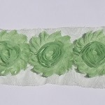 10 x Mint Green shabby chiffon rose flowers - trim for millinery and hairclips