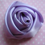 4 Satin Lavender Rolled  Roses Flower Embellishments