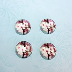 4 PACK FLOWER GLASS CABOCHONS - 20MM