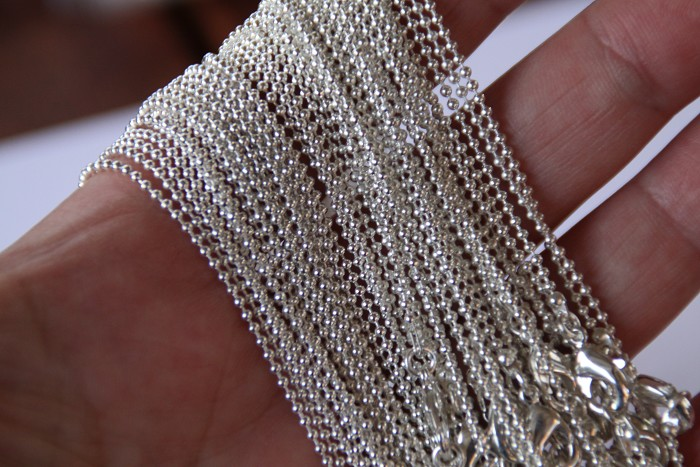 Longer length 20 x Dainty 1mm ball chain with lobster clasp 75cm- silver plated