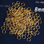 100 Gold Jump rings, strong high quality 8mm jump rings loops hoops