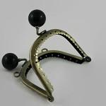 8 cm Metal Purse Frame- Black Candy button top