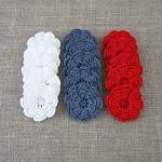 Pack of 15, Crochet flowers in white, blue, red