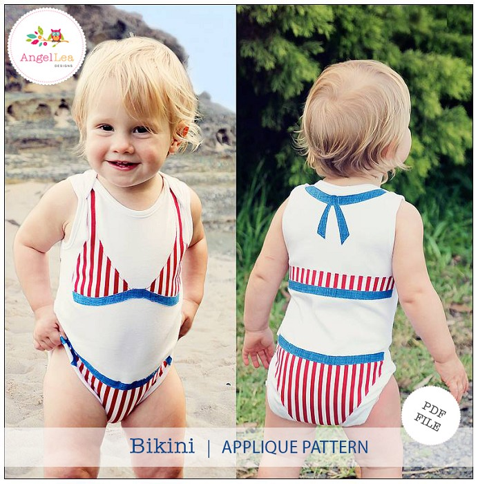 Bikini Applique Template Baby Bodysuit Embellishment PDF Pattern