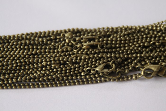 10 x Dainty 1mm ball chain with lobster clasp 60cmm - Bronze