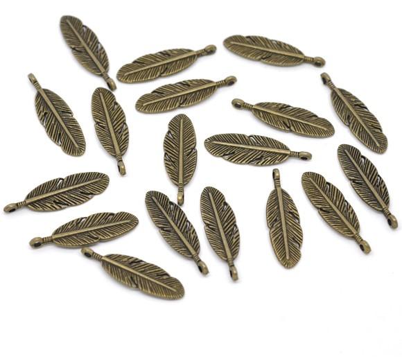 10 Antique Bronze Feather Charm Pendants