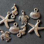 8 Under The Sea Antique Silver Trinket Pendant Findings.