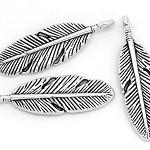 10 Antique Silver Feather Charm Pendants
