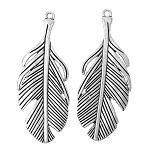 2  Antique Silver Feather Pendants