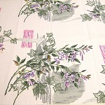 Vintage Barkcloth, Cotton, Pink, Purple, Green, White