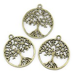 10 Tree of Life Antique Bronze Pendants
