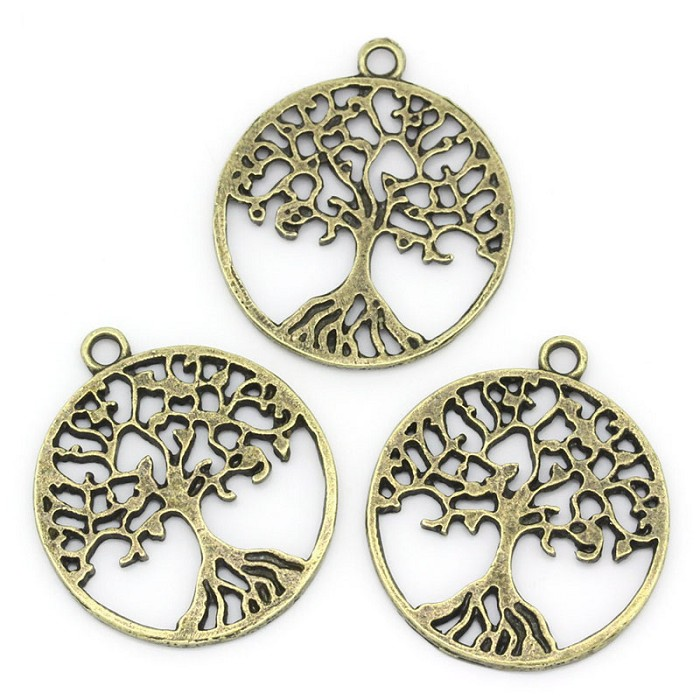 10 Tree of Life Antique Bronze Pendants