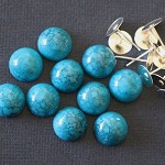 LAST SET 10 Silver Plate 8mm Earring Post Kit & Turquoise Resin Domes-5 Pairs