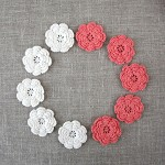 Pack of 10, Crochet flowers in coral and cream