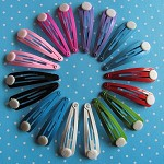 LAST SET 18 Snap Clips in Assorted Vibrant Colours with Glue Pad.
