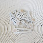 12 x White Snap/Hair Clips with Glue Pad (50mm)