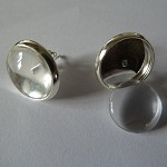 20 x 10mm studs and glass domes - Silver plated